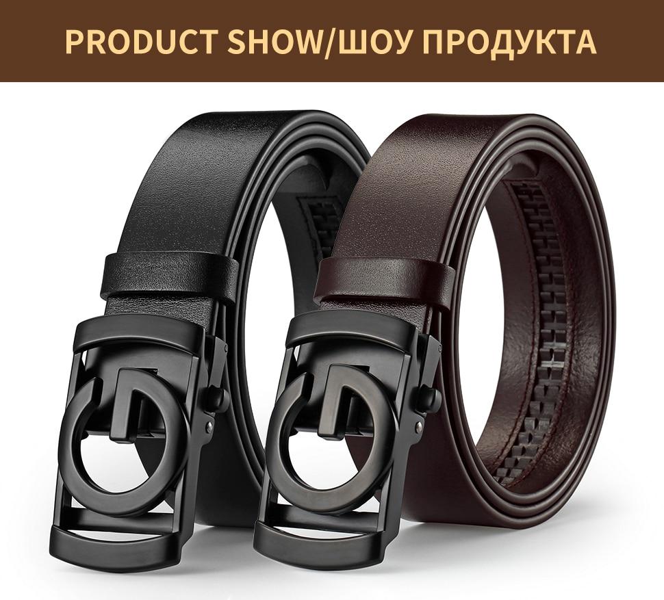 Fashion Men/'s Automatic Buckle Genuine Leather Waist Strap Belts Waistband Black