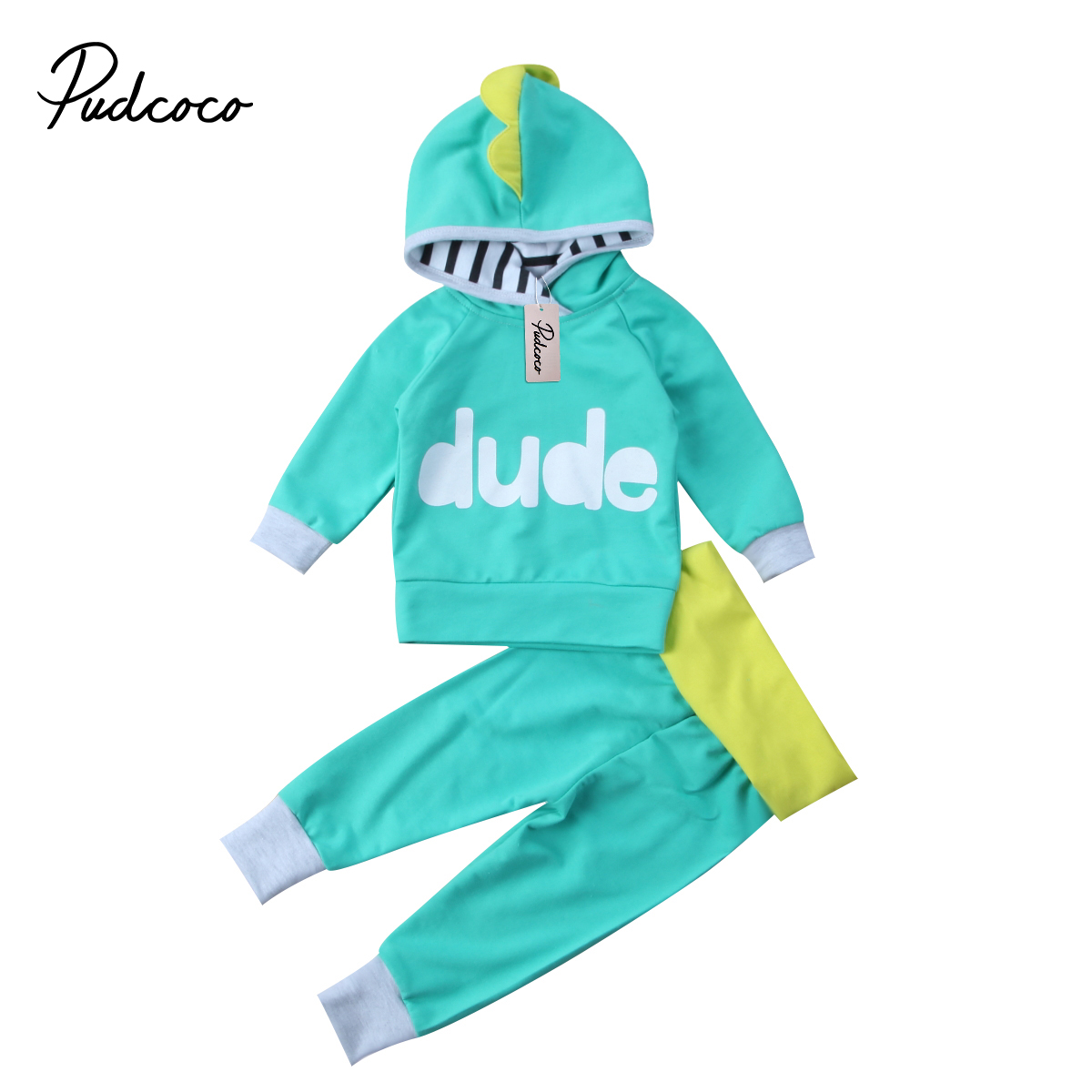 Pudcoco Newborn Baby Boy Girl Unisex Clothes Cotton Long Sleeve Hoodies Tops Pants Outfit Set 6-24Months Helen115