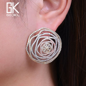 Image 2 - GODKI Luxury Geometry Cubic Zirconia Nigerian Big Stud Earrings For Women Wedding African Bridal Earrings boucle doreille femme