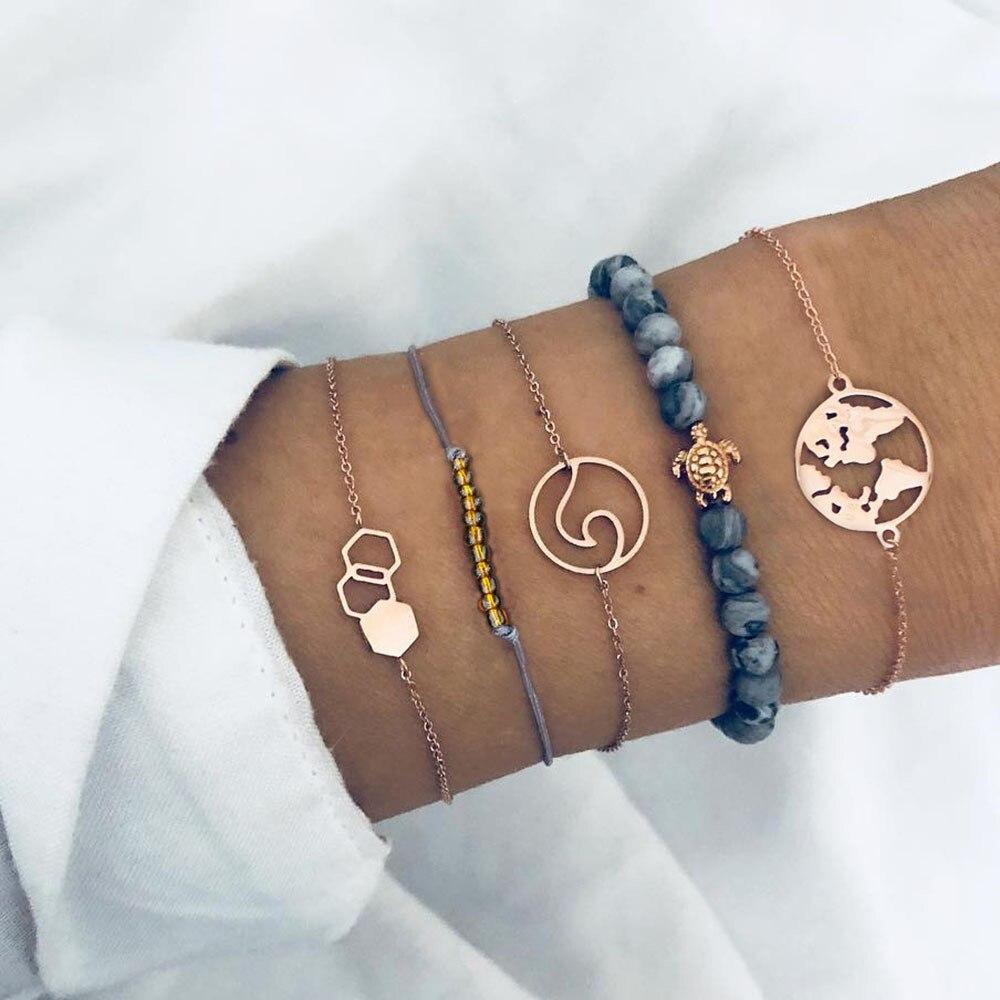 30 стилей микс черепаха сердце жемчуг волна любовь кристалл мрамор браслеты для женщин Бохо ювелирное изделие, браслет с кисточкой - Окраска металла: 3693