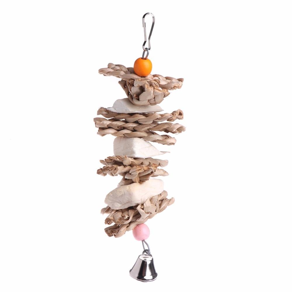 Parrot Bird Toys Natural Wood Cuttlebone Grass Chew Bite Hanging Cage Bell Swing Toy Bird Supplies C42