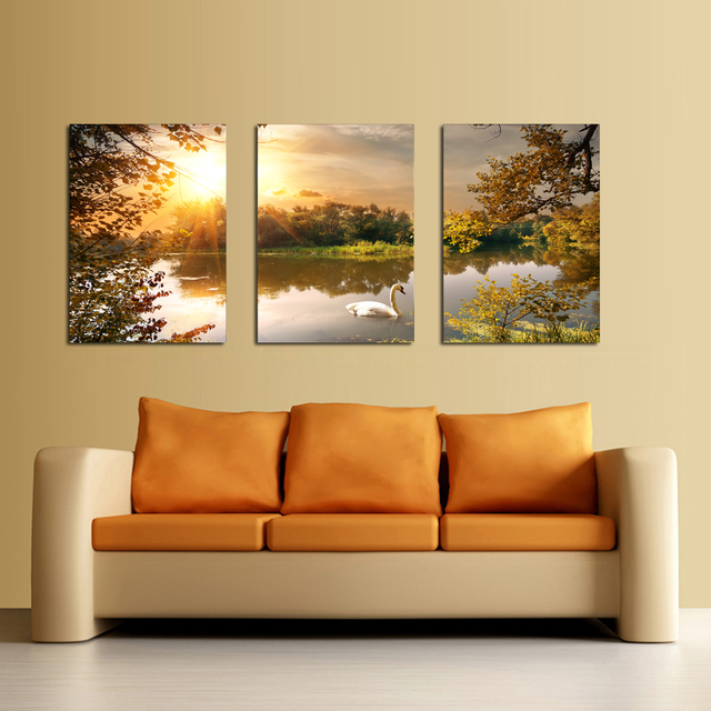 3 panel Canvas Art Swan Painting Wall Art Paintings Picture Paiting ...