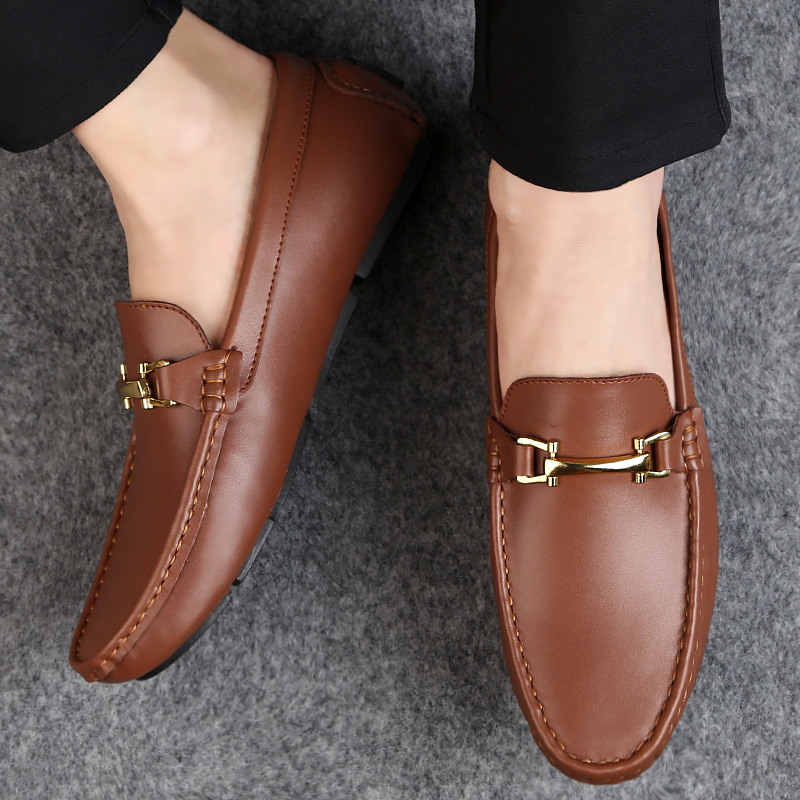 Man Shoes Classic Fashion Italian Style Genuine Leather Men Loafers Slip-On Mens Leather Loafers Good Quality Men Luxury Shoes