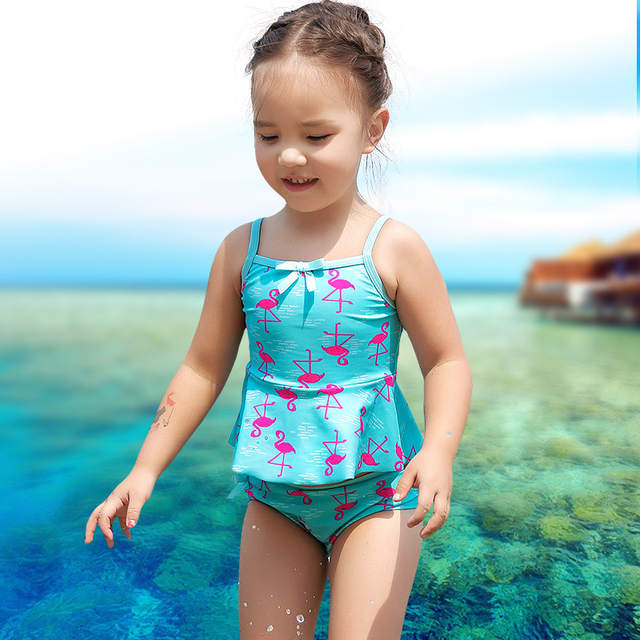 5a73594c placeholder xuanqi Baby Girls Lovely flamingo Print Swimwear Summer Beach  Toddler Bathing Suit Children Two Pieces Suits