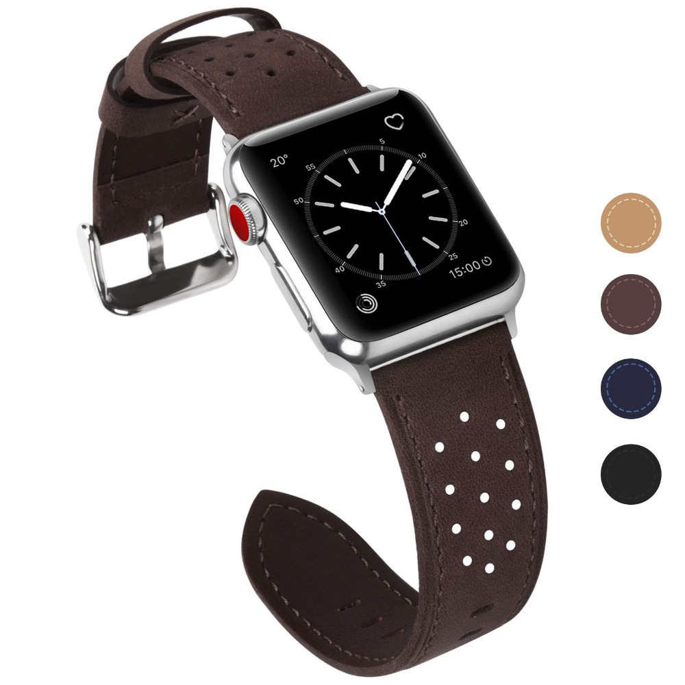 Fullmosa for Apple Watch Band 38mm 42mm, Breeze Leather Strap Replacement iWatch Bands for iWatch Series 3 2 1 Hermes & Nike+ strap