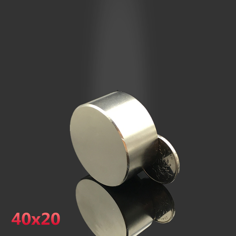 2pcs Neodymium magnet 40x20 mm gallium metal hot super strong round magnets 40*20  Neodimio magnet powerful permanent magnetic qs 3mm216a diy 3mm round neodymium magnets golden 216 pcs