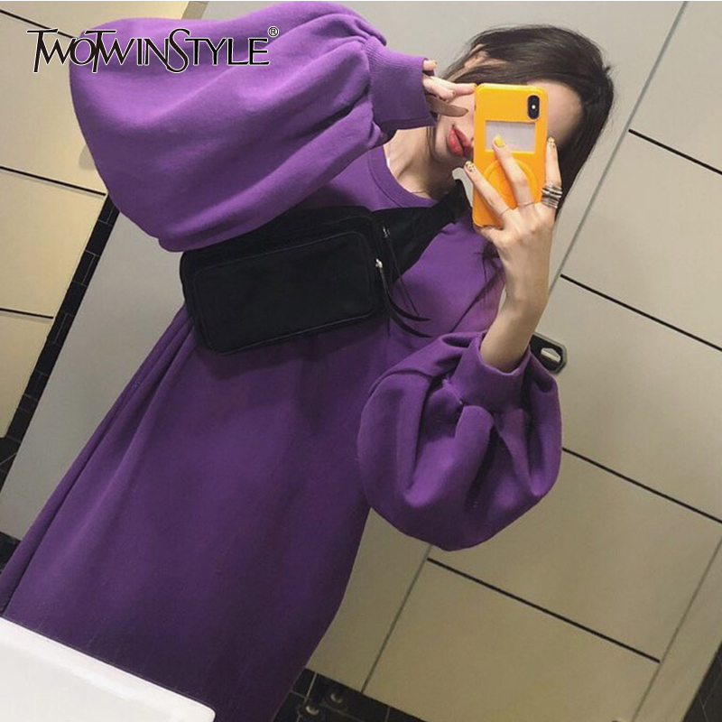 TWOTWINSTYLE Pullover Women's Dresses Loose Lantern Long Sleeve Purple Ankle Length Dress Female Autumn Fashion Casual 2018 Tide