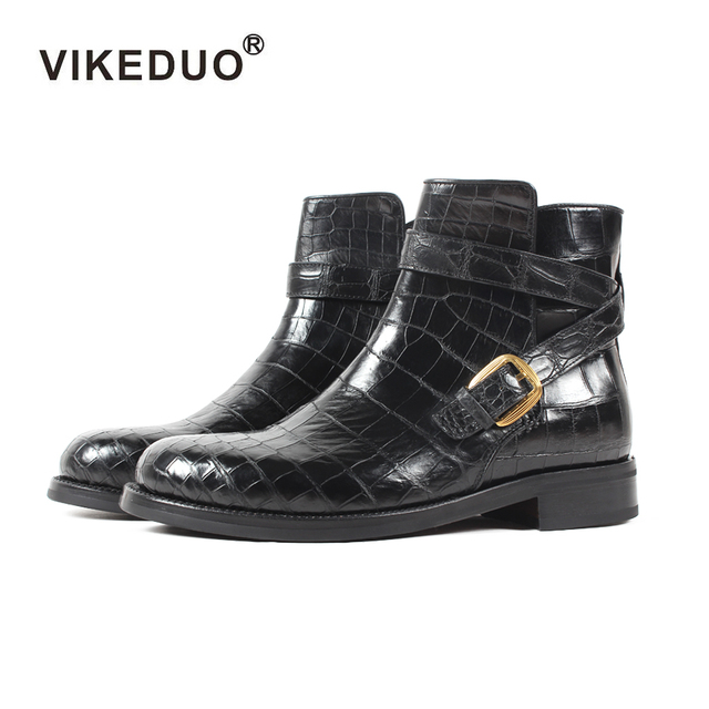 2018 Vikeduo Classics Crocodile Retro Mens Boots Custom Handmade Winter Fashion Luxury Office Genuine Leather Original Design
