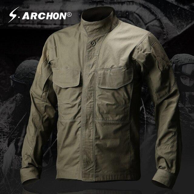 Nuovo Esercito Stile Militare Tattico Camicia Uomini Teflon Nylon  Traspirante Maschio Manica Lunga Abbigliamento Casual SWAT 9eab8681389