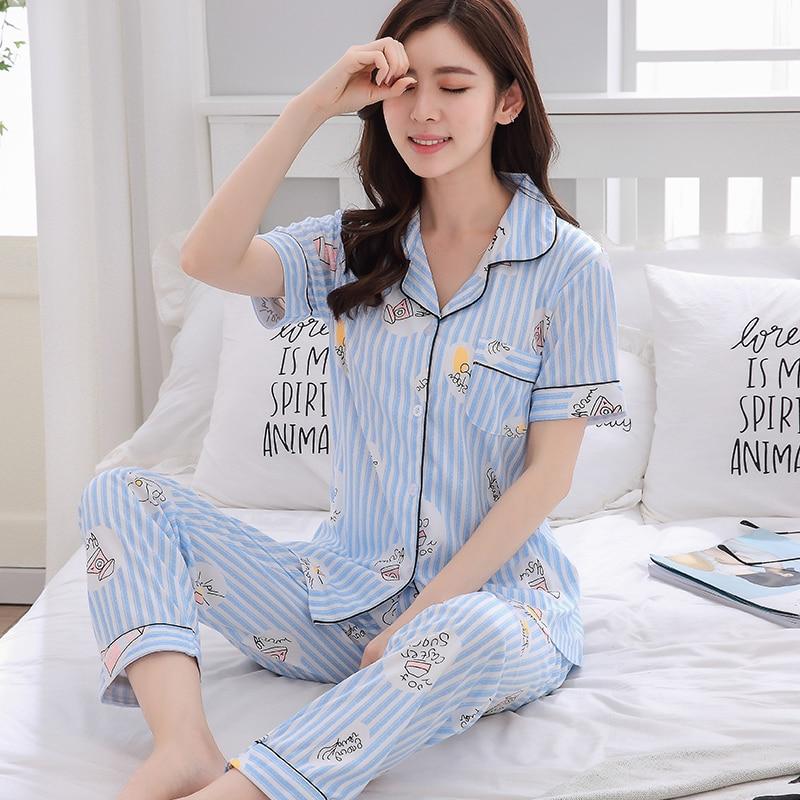 Fashion Women Lovely Wear Leisure Clothes 2019 Summer Short Sleeved Women Pajamas Set Women Long Pant Pyjamas Sets Nightwear