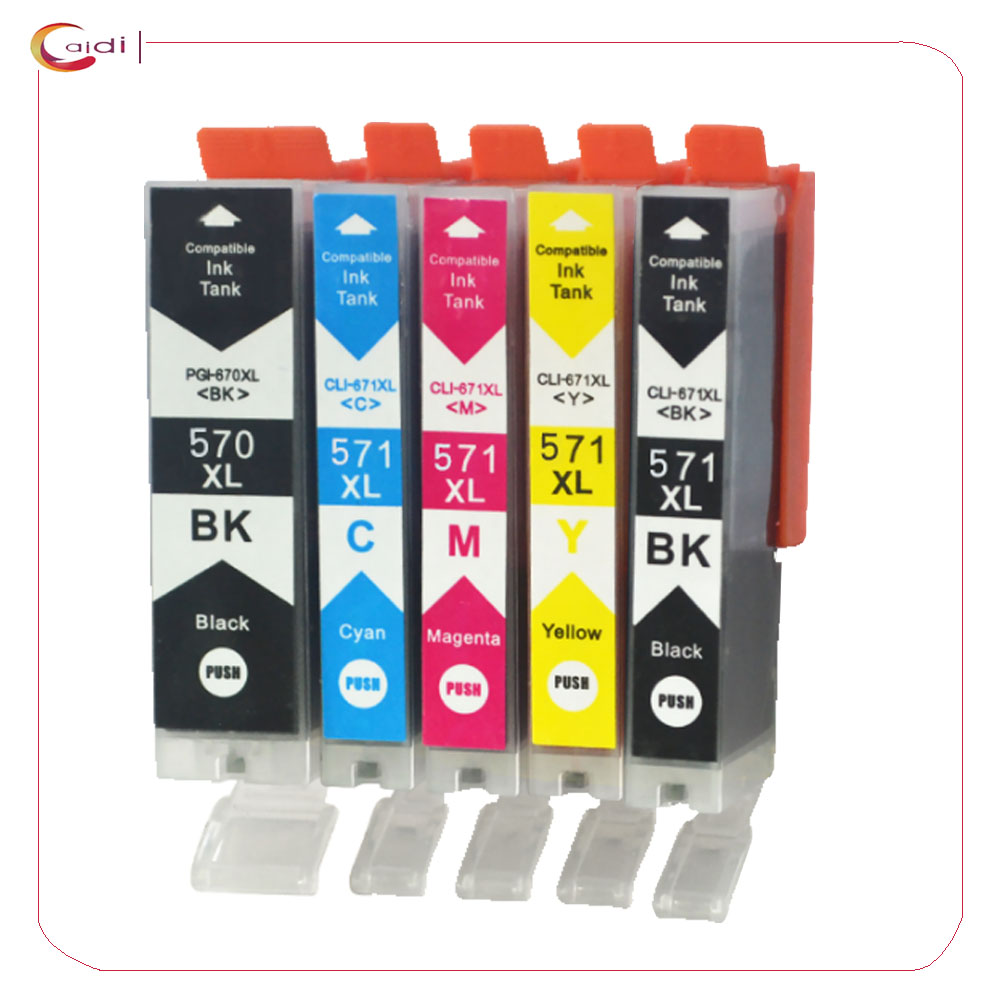 1SET Compatible Ink Cartridges for Canon PGI-570XL CLI-571XL with Canon PIXMA MG5750 TS5050 MG5751 MG5752 MG5753 MG6850 MG6851 1set 5pcs pgi 670 cli 671 empty refillable ink cartridges for canon pgi670 cli671 pixma mg5760 mg7760 mg6860