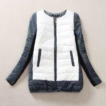 Женская Джинсовая Хит Цвет Сшивание Вниз CottonDown Куртка 2016 Новые Зимние Полный Рукав Одежды