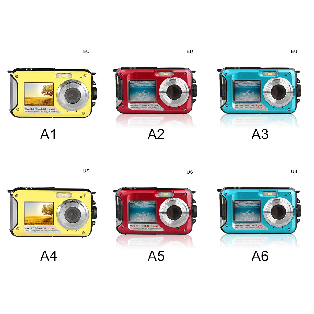 Digital Camera Waterproof 24MP MAX 1080P Double Screen 16X Digital Zoom Camcorder HD Underwater Camera 6
