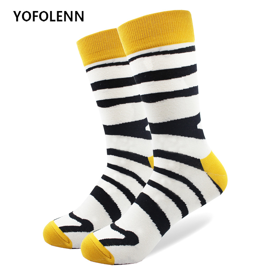 High Quality Combed Cotton Funny Men Socks with Animal Zebra Crocodile Pattern Design Happy Crew Wedding Socks Cool Casual