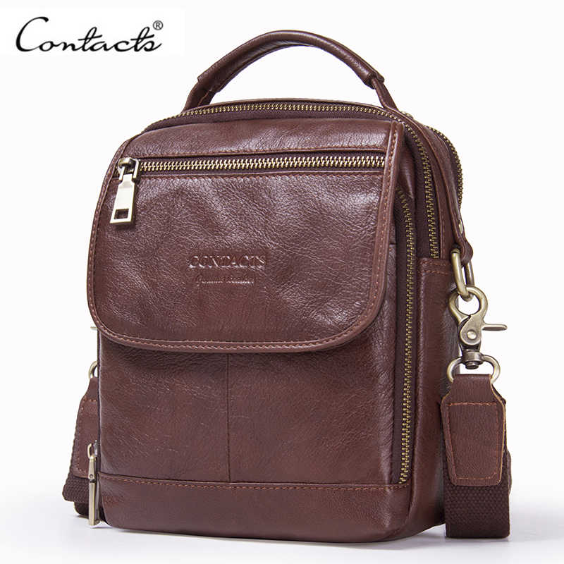 CONTACT'S Male Genuine Leather Shoulder Bag Fashion Style Men Messenger Bag With Zipper Pocket Crossbody Bags For Men Handbags