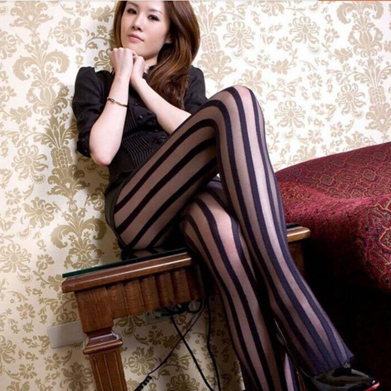 Сексуальная Color Matching Носки Японская Весна Толстые Полосы Тонкий Шелк Старинные Тонкий Широкий Бары Колготки JS0734