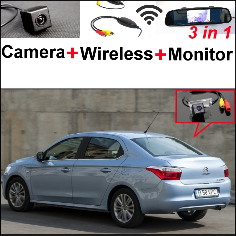 3 in1 Special Rear View Camera + Wireless Receiver + Mirror Monitor DIY Back Up Parking System For Citroen Elysee 2011~2014 wireless pager system 433 92mhz wireless restaurant table buzzer with monitor and watch receiver 3 display 42 call button