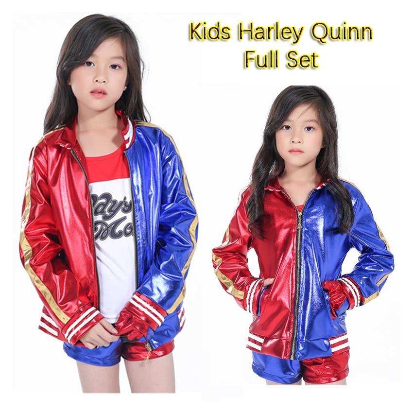 Girls Kids Harley Quinn Costume Cosplay Joker Suicide Squad Harley Queen Halloween Purim Jacket T Shirt Sets Chamarras De Batman
