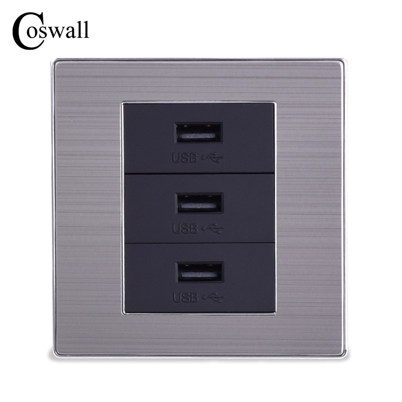 COSWALL 3 USB Fast Charge Port For Mobile 5V 6A Output In Total Luxury Wall Power Socket Stainless Steel Brushed Silver Panel coswall wall socket uk standard power outlet switched with dual usb charge port for mobile 5v 2 1a output stainless steel panel