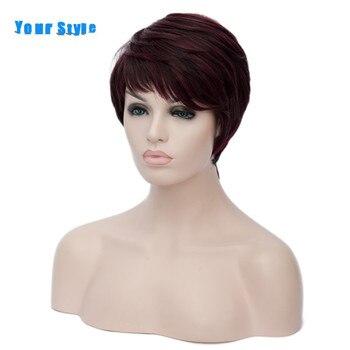 Seu Estilo Sintético Corte Curto Penteados Encaracolados Afro Perucas de Cabelo Natural Para As Mulheres Borgonha Ombre Loira Marrom Preto Vermelho