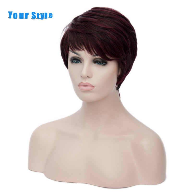Your Style Synthetic Short Cut Curly Hairstyles Natural Afro Hair Wigs For Women Burgundy Black Brown Red Ombre
