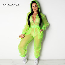 ANJAMANOR Sheer Mesh Casual One Piece Jumpsuit Women Organza Sexy Long Sleeve Zip Up Romper Neon Pink Green Orange D90-AC12(China)