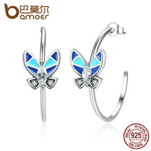 Bamoer vintage 100% de plata de ley 925 pendientes círculo redondo con la mariposa azul de las mujeres pendientes de gota de la joyería sce017