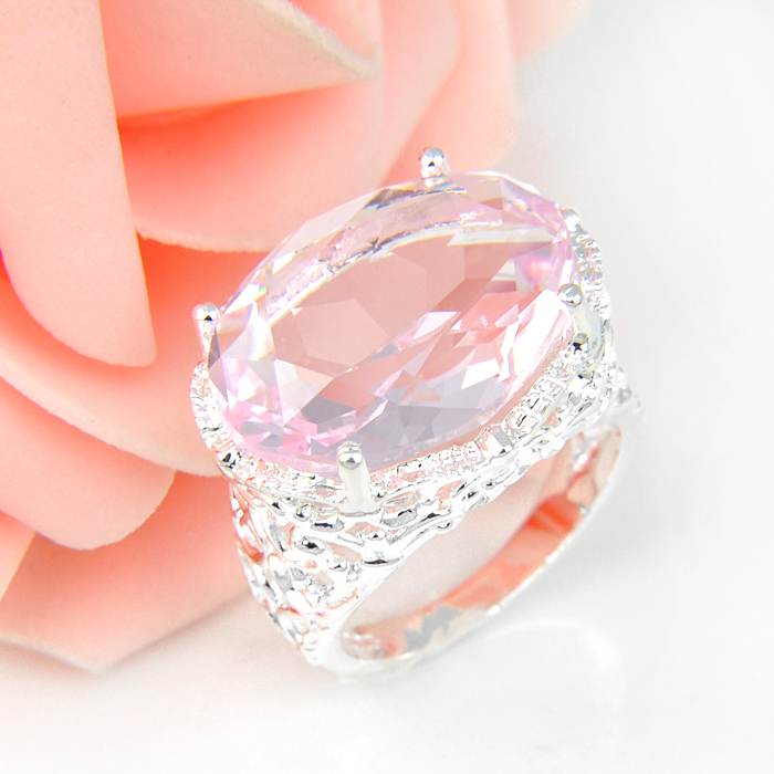 Promotion Oval Pink Fire Crystal Silver Plated Wedding Rings Russia