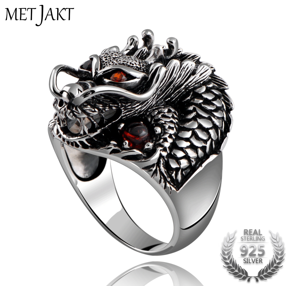 MetJakt Fashion Vintage 925 Sterling Silver Domineering Dragon Ring with Ruby Punk Rock Rings for Men's Fine Jewelry