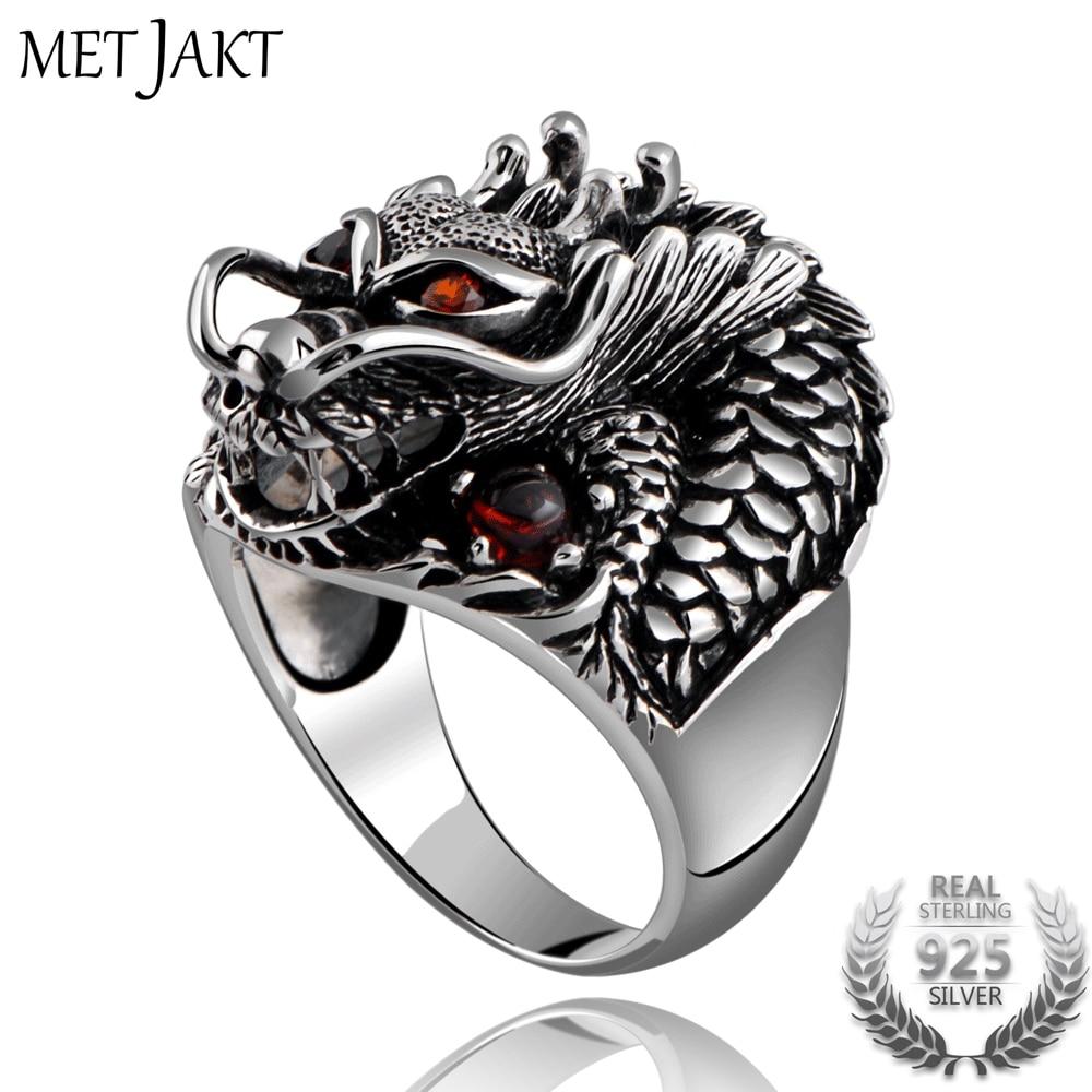 MetJakt Fashion Vintage 925 Sterling Zilver Dominante Draak Ring met Ruby Punk Rock Ringen voor mannen Fijne Sieraden-in Ringen van Sieraden & accessoires op  Groep 1