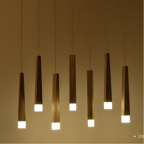 Art Chandelier simple restaurant LED single head Nordic solid wood rectangular creative Chandelier Postage freeArt Chandelier simple restaurant LED single head Nordic solid wood rectangular creative Chandelier Postage free