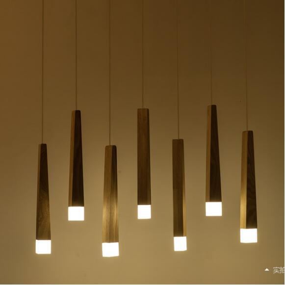купить Art Chandelier simple restaurant LED single head Nordic solid wood rectangular creative Chandelier Postage free по цене 6446.16 рублей