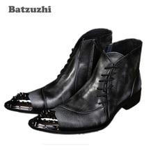 새로운 도착 럭셔리 높은 망 레저 가죽 신발 패션 디자이너 금속 발가락 남자 짧은 크기 발목 부츠 38-46