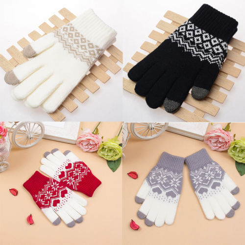 Hot Women Men Unisex Wool Touch Screen Gloves Women Girl Stretch Knit Mittens Winter Warm Gloves Snowflakes New