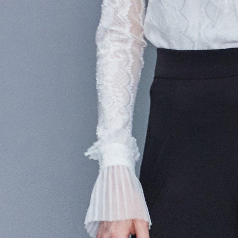 Européenne 2019 été automne nouvelles modes femmes hauts et Blouse manches longues Sexy dentelle couleur unie col montant chemise blanche A288 - 5