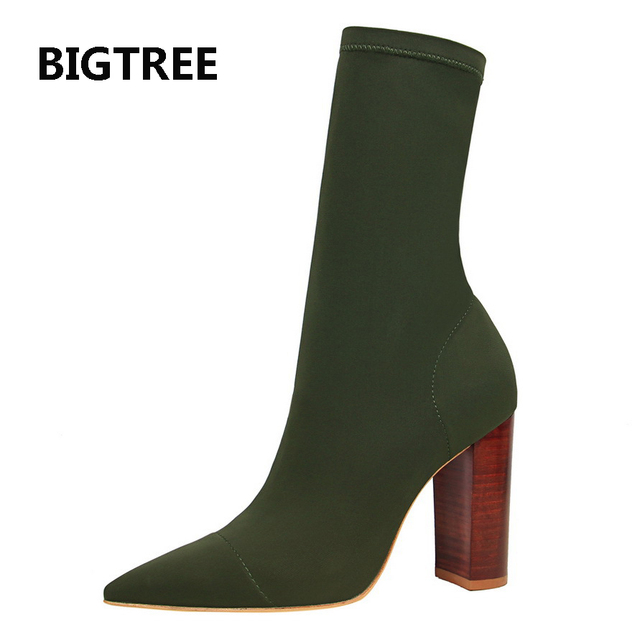 72c8739c9d69 Free shipping real pic stretch fabric black apricot green women lady big  heel new stylle short bootie spring autumn boot on sale