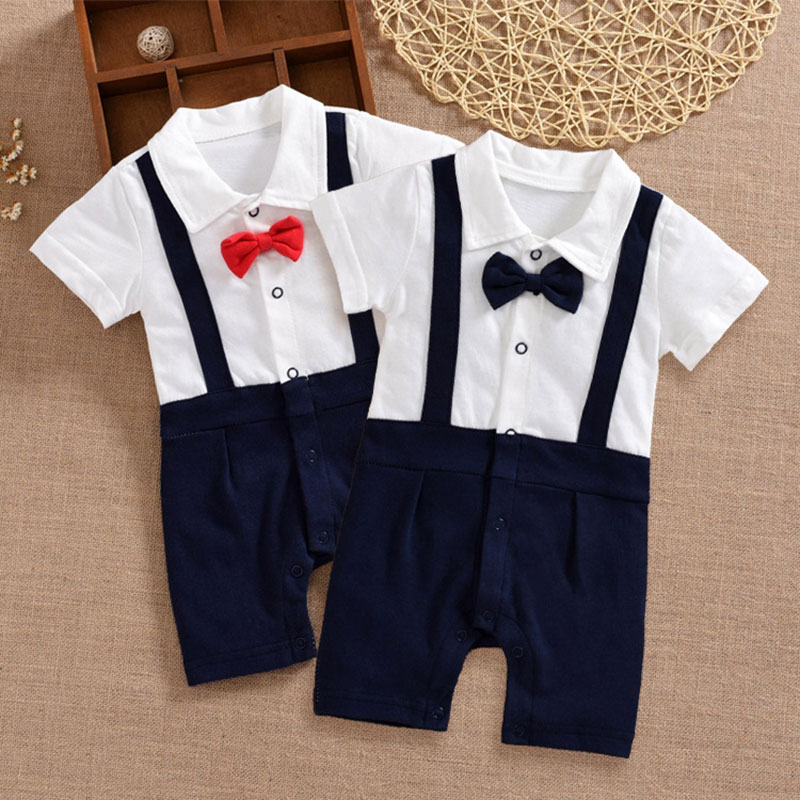 Formal newborn baby gentleman rompers boy polo top clothes set for baby boy summer wear wedding birthday party clothing jumpsuit top and top summer toddler boy clothes gentleman boy clothing set bow tie romper top straps shorts boys wedding party clothes