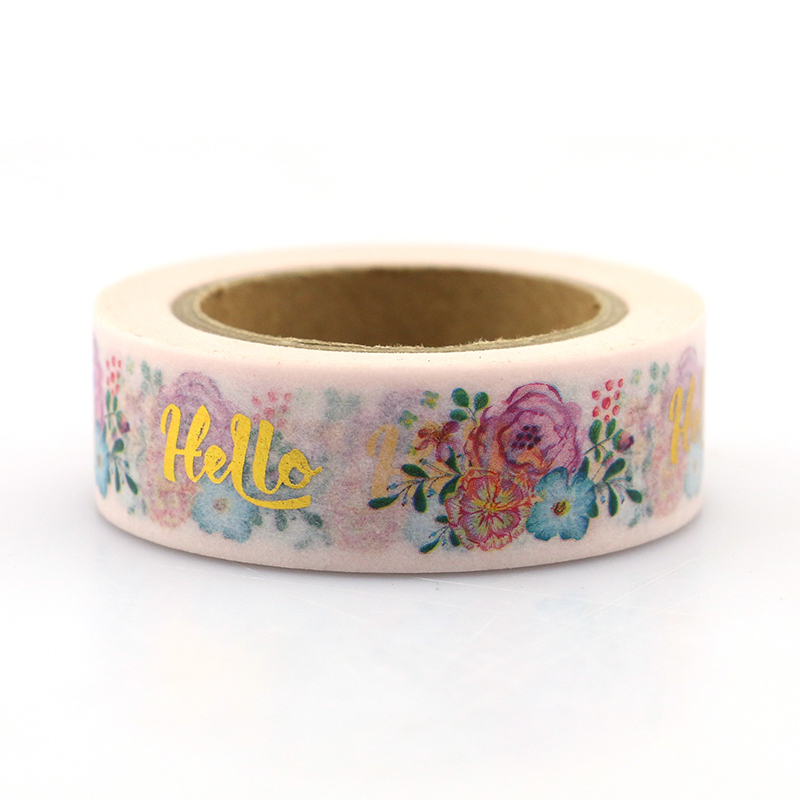 1pcs Rose Christmas Foil Washi Tape Japanese Paper 15mm 10m Cute Masking Tape Photo Album Diy Decorative Tapes in Office Adhesive Tape from Office School Supplies