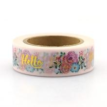 1pcs Rose Christmas Foil Washi Tape Japanese Paper 15mm*10m Cute Masking Tape Photo Album Diy Decorative Tapes цена