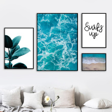 Sea Leaves Landscape Quotes Wall Art Canvas Painting Nordic Posters And Prints  Pictures For Living Room Decor