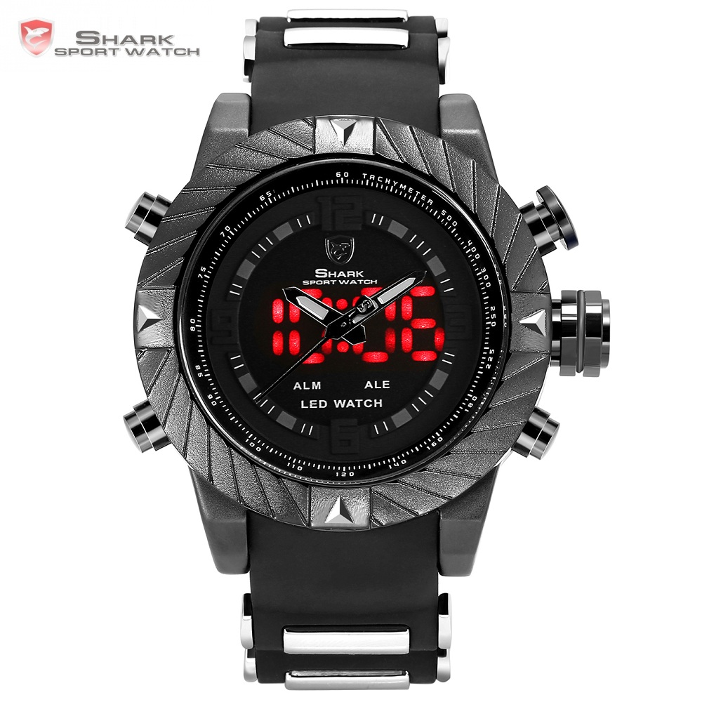 Goblin Shark Sport Watch 3D Logo Dual Movement Waterproof Full Black Analog Silicone Strap Fashion Men Casual Wristwatch / SH165 sawback angel shark sport watch mens black yellow digital dual movement 3d logo steel case led watches leather wristwatch sh204