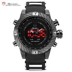 Goblin Shark Sport Watch 3D Logo Dual Movement Waterproof Full Black Analog Silicone Strap Fashion Men Casual Wristwatch / SH165
