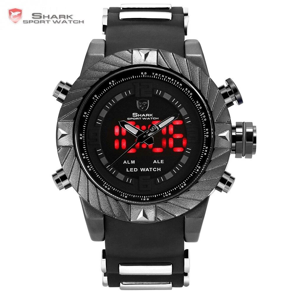 Goblin shark relógio do esporte do logotipo 3d duplo movimento analógico Alça de Silicone homens moda casual relógio de pulso à prova d' água preto completo/sh165