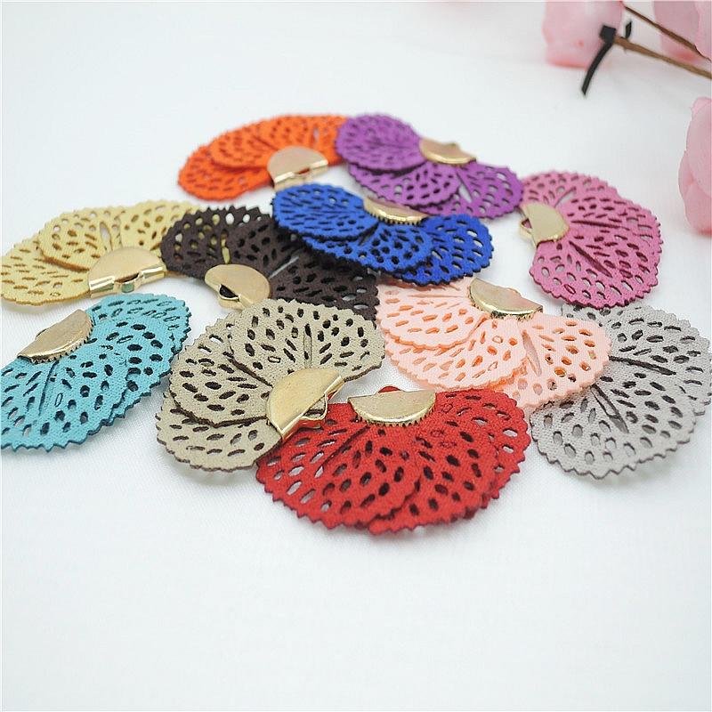 10pcs/lot 3cm fabric fan tassel for jewelry making diy flannel tassels with gold
