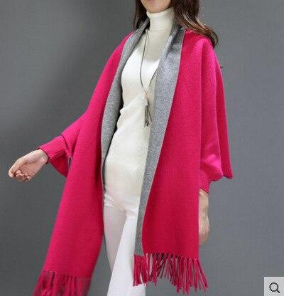 SC2 большой шарф Зимний вязаный пончо женский однотонный дизайнерский плащ женский длинный рукав летучая мышь пальто винтажная шаль - Цвет: Rose Red With Grey