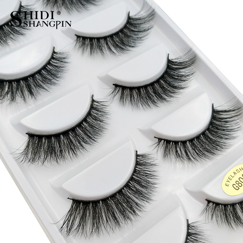 LANJINGLIN 5 Pairs Natural False Eyelashes Long Extensiong Lashes 3d Mink Make Up Wholesale Faux Mink Eyelashes For Beauty