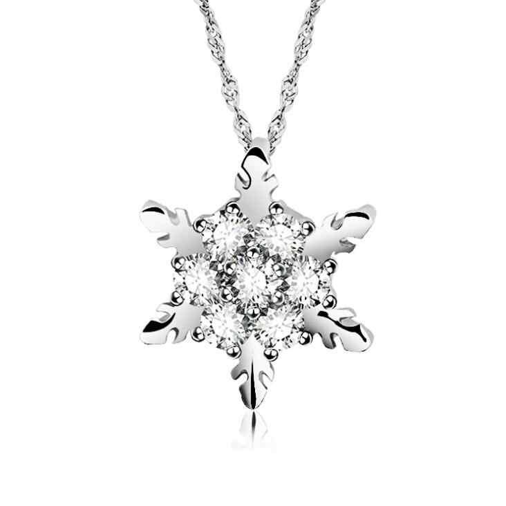 2018新しい5色チャームヴィンテージブルークリスタルスノーフレークジルコンの花シルバーネックレスペンダントジュエリー用女性最高の新年の贈り物
