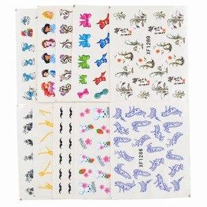 Image 5 - 50 arkuszy mieszane style Watermark BOW Cartoon naklejki Nail Art porady transferu wody naklejki uroda tymczasowe tatuaże narzędzia