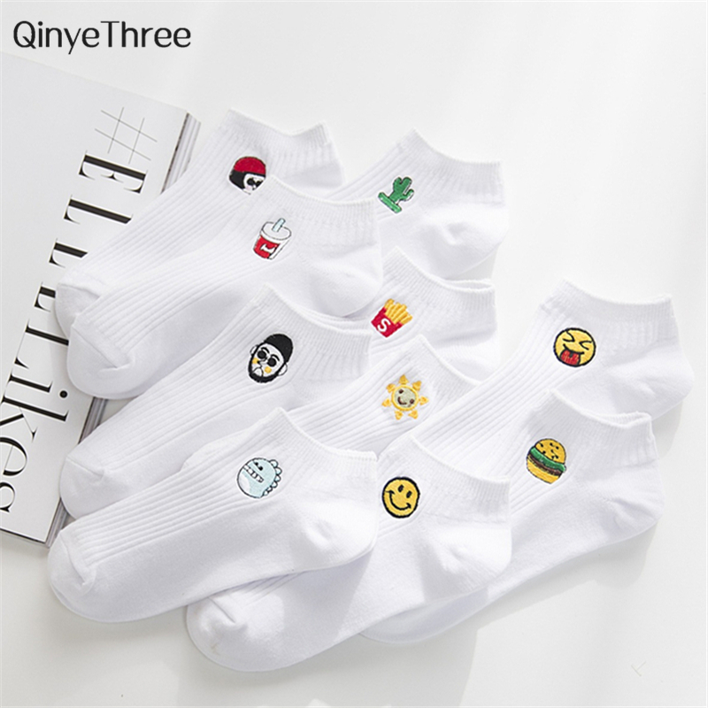 Man White Harajuku   Socks   Unisex Short   Socks   Hipster Skateboard Funny Ankle   Socks   Embroidery Coke Killer Cactus Monster 2cp=1pair