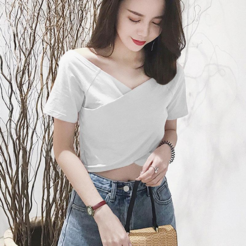 Yfashion Women Cotton Soft V neck T shirt Solid Black White Summer Navel Exposed Short Sleeve T Shirts Tee for Women Female in T Shirts from Women 39 s Clothing